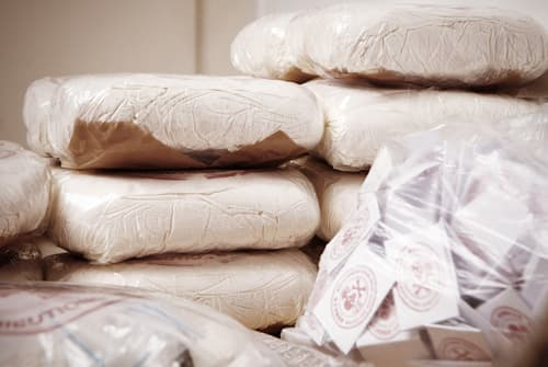 pile of drugs found with drug traffickers